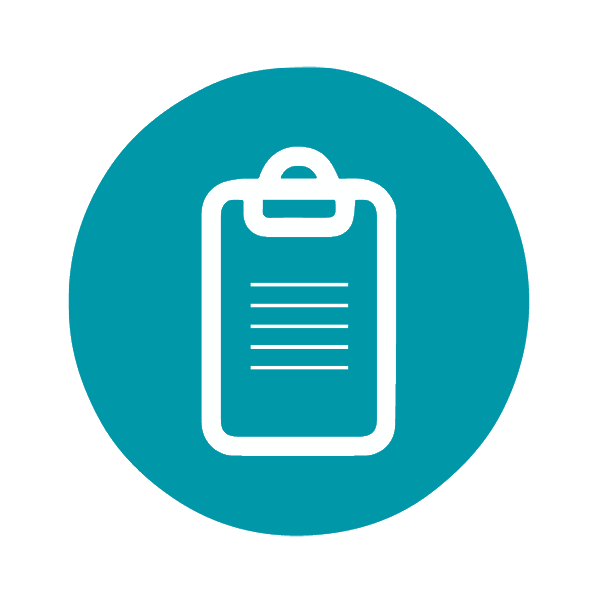 Learning outcomes icon - clipboard with writing